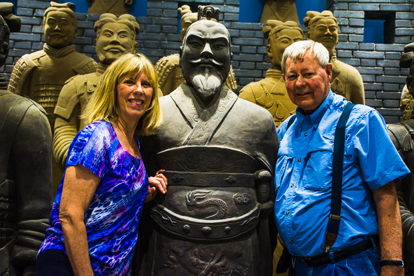 Rebecca and Sunny with Terracotta warriors at the Xian Art Ceramics and Lacquer Exhibition Center.
