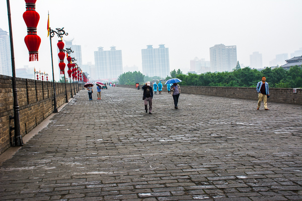 Walking on top of the Xian City Wall.