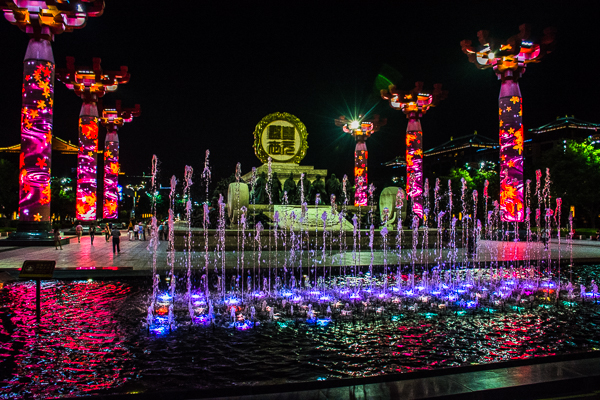 Beautiful light display seen on night walk in Xian.