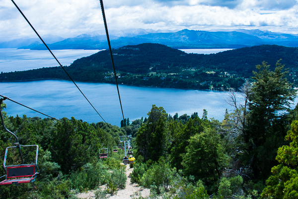 Gondola at Cerro Otto with view of Nahuel Huapi Lake near Bariloche in Argentina.