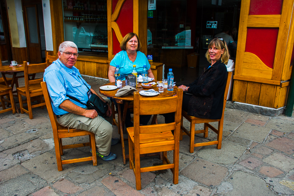 Dave, Vicki, and Rebecca at lunch in Bariloche, Argentina.