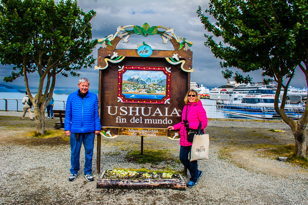 Sunny and Rebecca at the pier in Ushuaia, Argentina where the ships are docked.