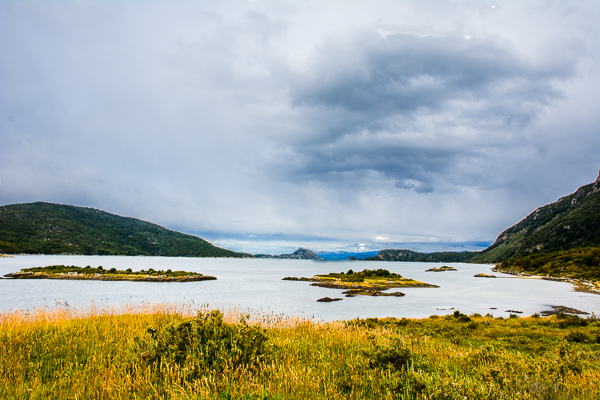 View of lake in Tierra del Fuego National Park near Ushuaia, Argentina.