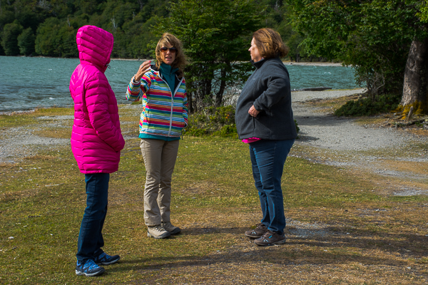 Silvana Carreras, host and guide, with Rebecca and Vicki at Tierra del Fuego National Park near Ushuaia, Argentina.