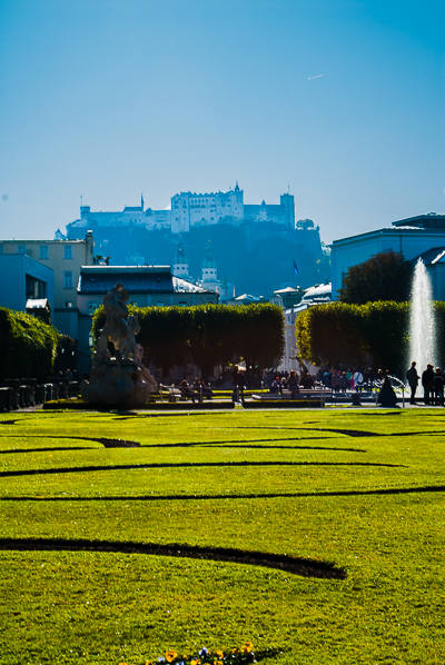 Mirabell Gardens. The castle, Fortress Hohensalzburg is high on the cliff in the background.