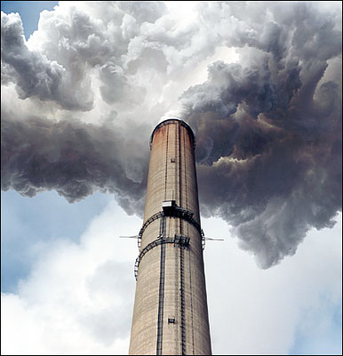 Smoke stack of a coal fired power plant.