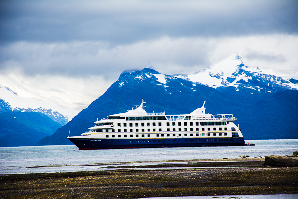 Stella Australis cruise ship in Agostini Sound near the Aguila Glacier in Chile.