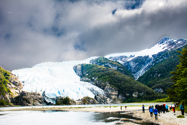 The Aguila Glacier in Agostini Sound, Chile.