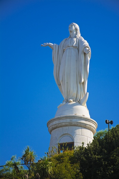 Statue of the Virgin Mary in the Metropolitan Park in Santiago, Chile.