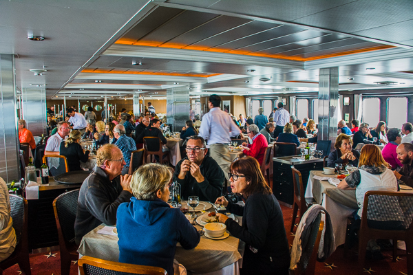 Dining on the Stella Australis cruise ship.