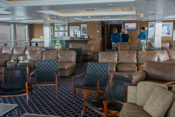 Lounge on the 4th deck of the Stella Australis cruise ship.