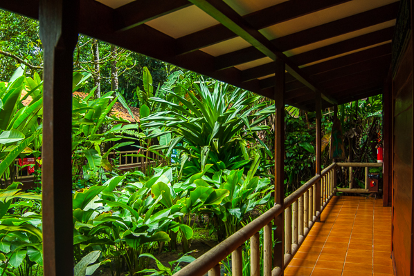 Front porch to room at Pachira Lodge.