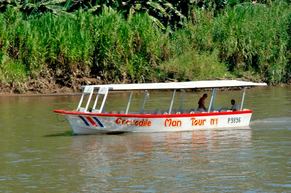 Tarcoles riverboat for observing wildlife in the Tarcoles River near Jaco.