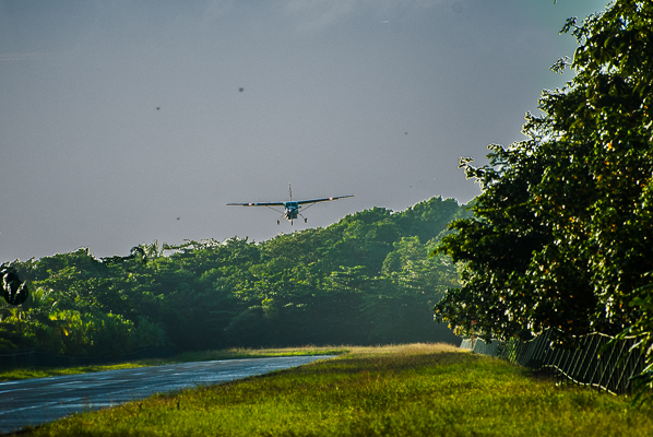 Passenger plane coming in on jungle landing strip in Torguguero.