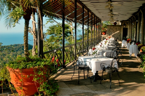 Restaurant at the Hotel Villas Caletas which overlooks the Pacific Ocean.