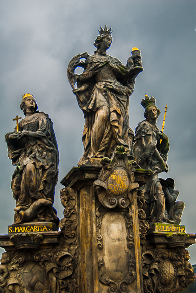A statue on the Charles Bridge in Prague.