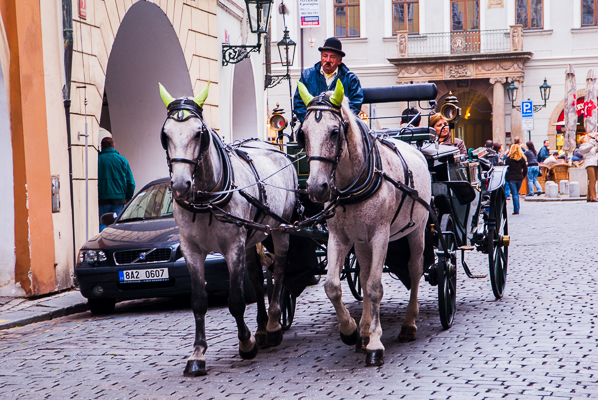Horse drawn carriage in downtown Prague.