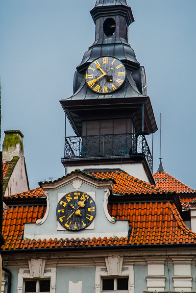Jewish Town Hall with clocks in Prague.