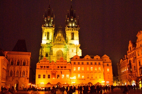 Old Town Square at night in Prague.