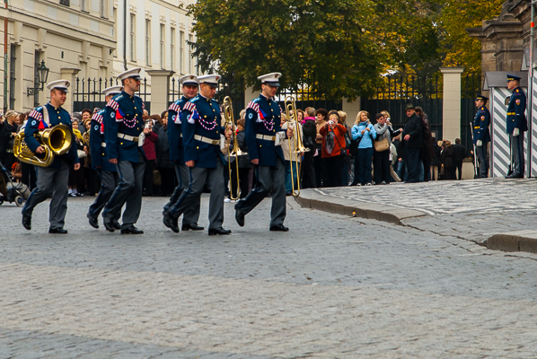 Musicians and guards near St. Vitus Cathedral in Prague.