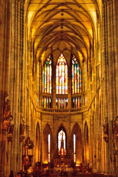 Nave in St. Vitus Cathedral in Prague.