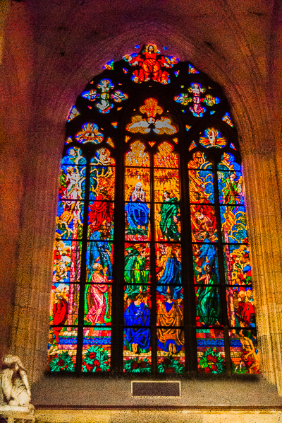 stained glass window in St. Vitus Cathedral in Prague.