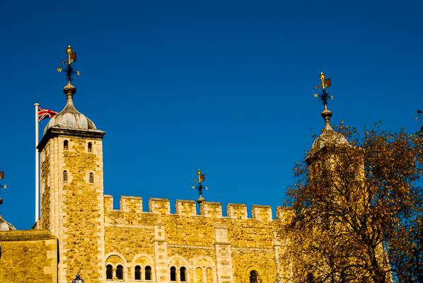 The Tower of London's outer wall with two of the many towers.