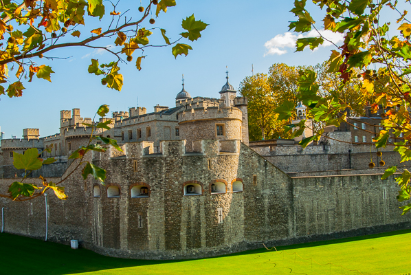 The Tower of London's outer curtain wall. The curtain wall of the inner ward is also seen.