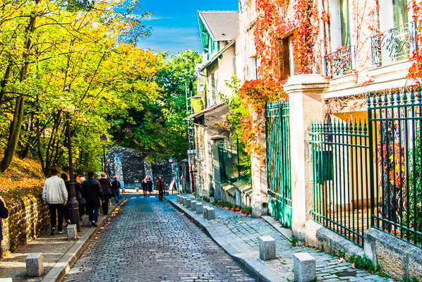 Guided walk in Montmartre section of Paris, France.