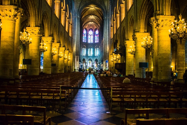 Nave of the Notre-Dame Cathedral in Paris, France.