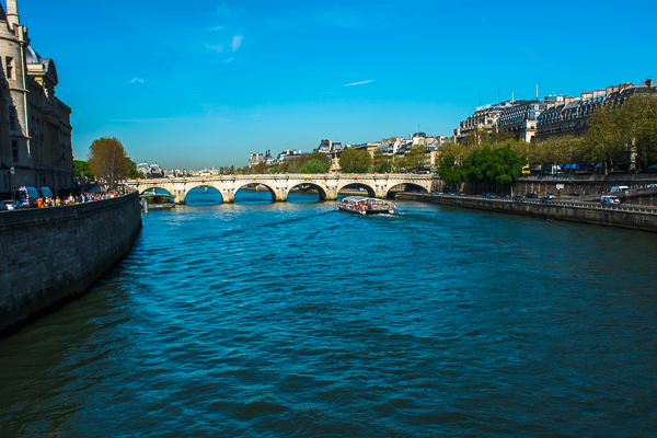 The Seine River in Paris. in Paris, France.