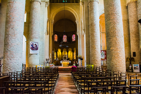 Abbey Church of St. Philibet nave in Tournus, France.