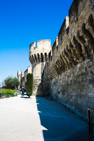 Medieval city wall of Avignon, France.