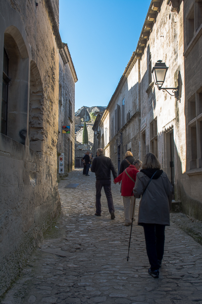 Walking the cobble stone street in Les Baux, France.