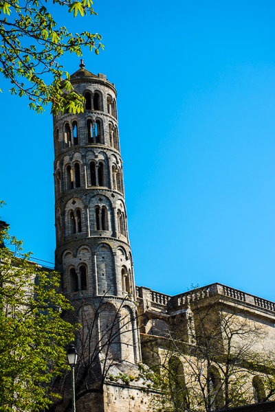 The Fenestrelle Tower and the Saint-Theodorit Cathedral in Uzes, France.
