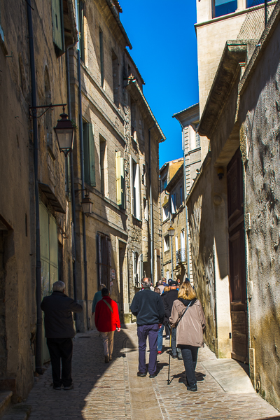 Street in medieval city of Uzes, France.