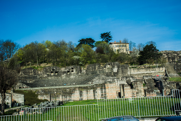 Ruins of an ancient Roman theater in Vienne, France.