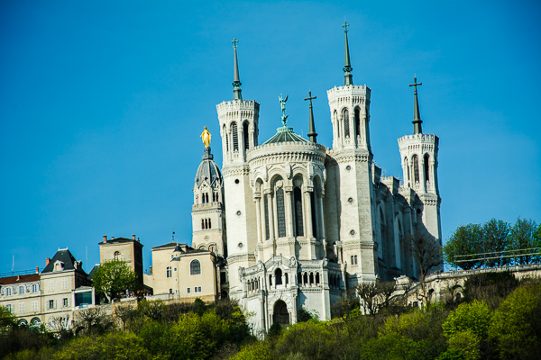 Notre Dame de Fourviere Cathedral in Lyon, France.