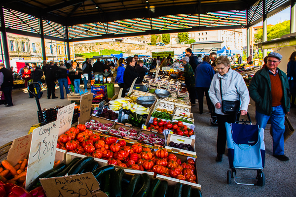 Large market in Tournon, France.