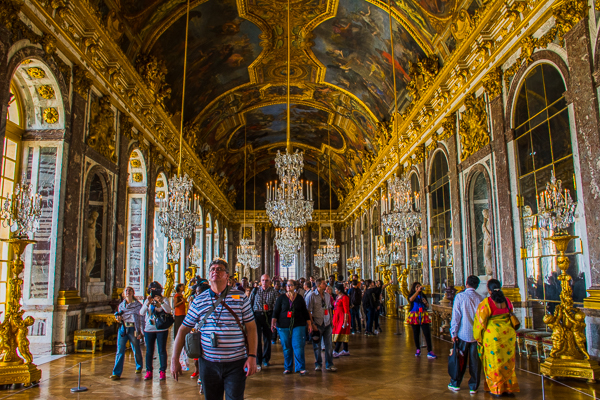 Hall of Mirrors room in Versailles Palace, France..