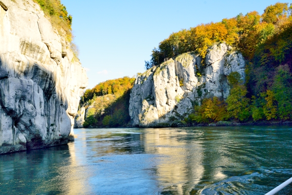 Cllifs seen from boat in the Danube Gorge.