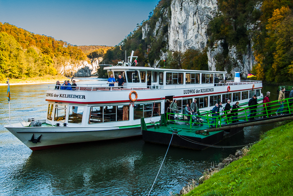 Boat docked in the Danube Gorge at the Weltenburg Abbey.