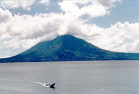 Lake Atitlan with volcano.