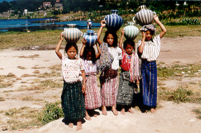 Girls at a village on Lago Atitlan.