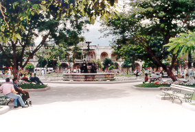 Central Park in Antigua, Guatemala.