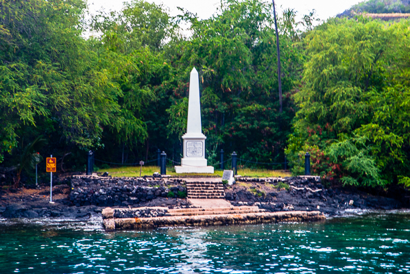 Captain Cook Monument seen on the sunset cruise on the Big Island Hawaii.