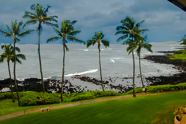 Ocean view from room at the Kauai Sheraton hotel.