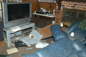 Television set in dining room after Hurricane Katrina.