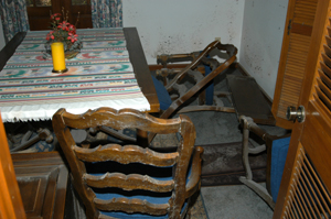 Dining room after Hurricane Katrina.