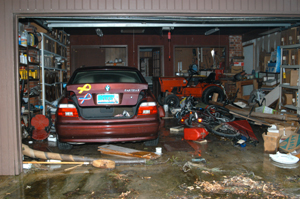 BMW in garage after Hurricane Katrina.